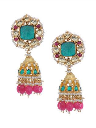 Pink-Green Gold Tone Kundan Inspired Jhumkis