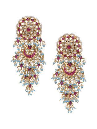 Multicolored Gold Tone Kundan Inspired Earrings