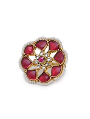Red Gold Tone Kundan Inspired Ring