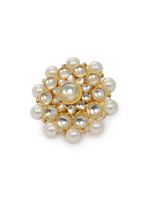 Gold Tone Kundan Inspired Pearl Beaded Ring