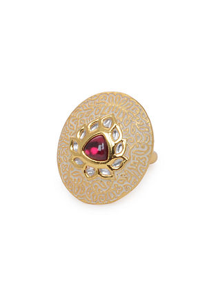 Pink Gold Tone Kundan Inspired Ring