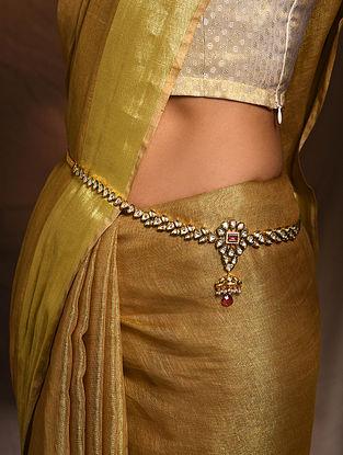Red Gold Tone Kundan Waist Belt