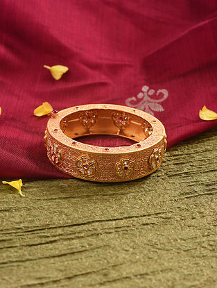 Pink Gold Tone Kundan Bangle