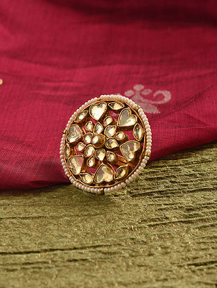 Gold Tone Kundan Beaded Ring