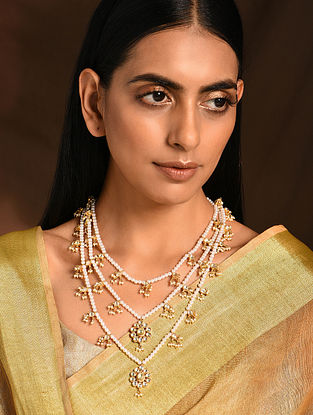 Gold Tone Kundan Beaded Necklace
