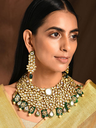 Green Gold Tone Kundan Necklace with Earrings (Set of 2)