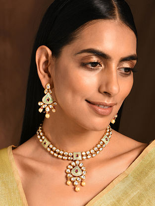 Maroon Green Gold Tone Kundan Enameled Necklace with Earrings (Set of 2)