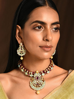 Maroon Blue Gold Tone Kundan Enameled Necklace with Earrings (Set of 2)