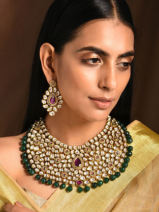 Maroon Green Gold Tone Kundan Necklace with Earrings (Set of 2)