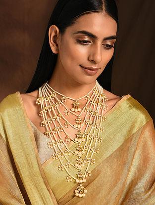 Gold Tone Pearl Beaded Kundan Necklace