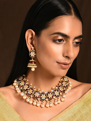 Maroon Gold Tone Kundan Necklace with Earrings (Set of 2)