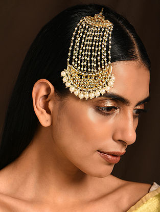 Gold Tone Kundan Passa with Pearls