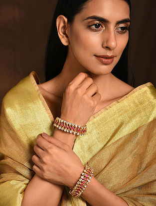 Pink Gold Tone Kundan Bangles (Set of 2)