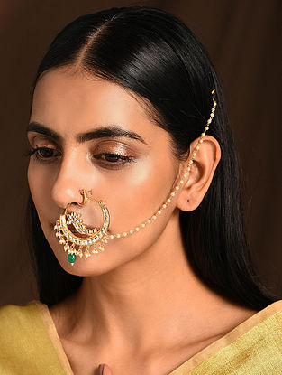 Green Gold Tone Kundan Nosepin with Pearls