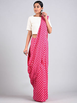 Pink Block Printed Cotton Saree with Tassels