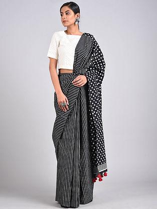 Black-White Block Printed Cotton Saree with Tassels