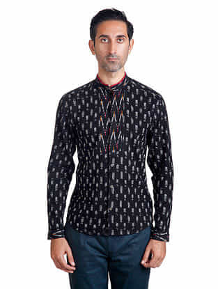 Black-White Mandarin Collar Full Sleeve Ikat Pieced Cotton Shirt with Anti-Flip Pocket - L
