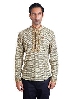 Beige-White Mandarin Collar Full Sleeve Pieced Cotton Shirt with Anti-Flip Pocket
