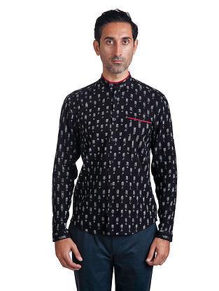Black-White Mandarin Collar Full Sleeve Handloom Ikat Cotton Shirt