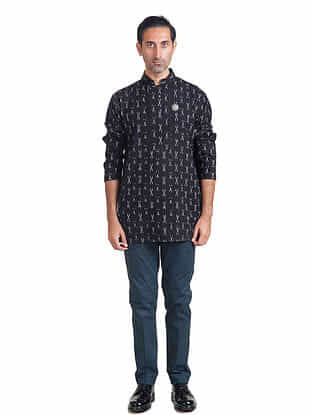 Black-White Full Sleeve Handloom Ikat Cotton Kalidar Kurta