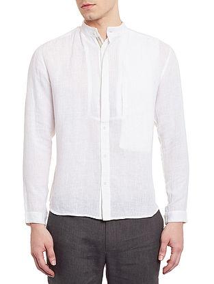 White Slim Fit Pieced Linen Shirt with Anti-Flip Pocket