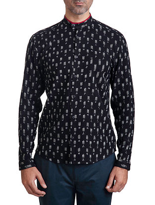 Black Mandarin Collar Full Sleeve Slim Fit Single Ikat Handloom Cotton Shirt