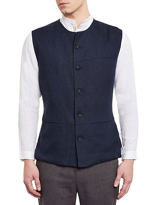 Navy Blue Sleeveless Asymmetric Linen Jacket