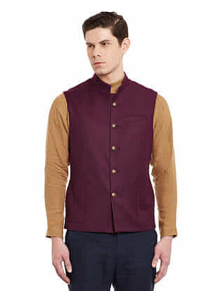 Maroon Sleeveless Slim Fit Woolen Nehru Jacket