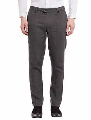 Grey Linen Tapered Trousers