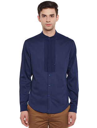Blue Full Sleeve Cotton Shirt with Safe Pocket