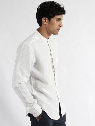 White Linen Band Collar Slim Fit Shirt