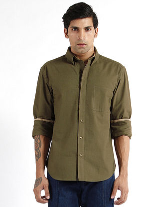 Olive Cotton Button-down Collar Shirt