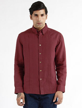 Maroon Linen Pleated Dress Shirt