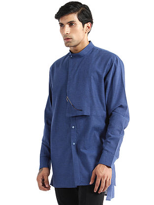 Indigo Hand Woven Chevron Cotton Tunic Shirt