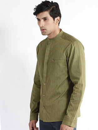 Olive Handloom Chevron Cotton Dress Shirt