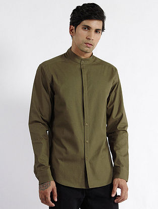 Olive Cotton Fitted Shirt