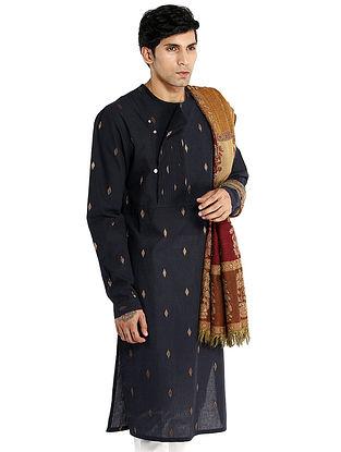 Navy Hand Woven Cotton Achkan Kurta