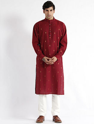 Maroon Hand Woven Cotton Drop Shoulder Kurta