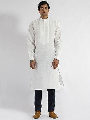 White Linen Drop Shoulder Kurta