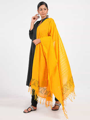 Yellow Hand-embroidered Cotton Dupatta