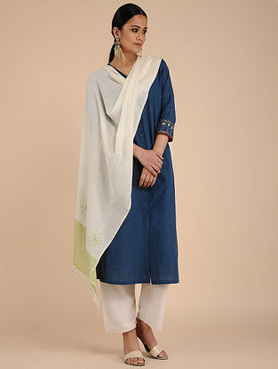 Ivory-Green Chikankari Cotton Dupatta