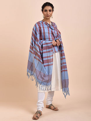 Blue-Maroon Handwoven Cotton Dupatta