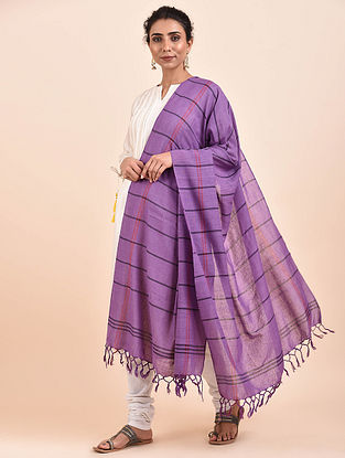 Purple Handwoven Cotton Dupatta