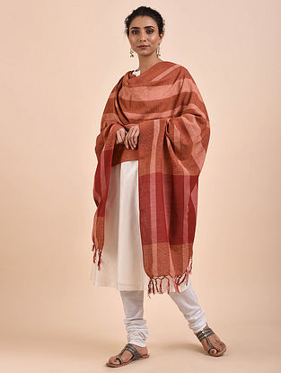 Brown-Red Handwoven Cotton Dupatta
