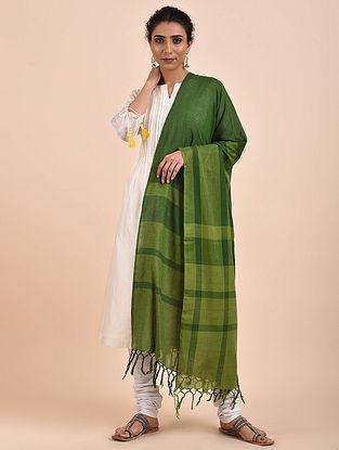 Green Handwoven Cotton Dupatta