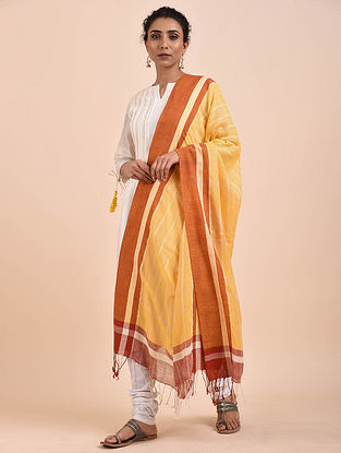 Yellow-Orange Handwoven Cotton Dupatta
