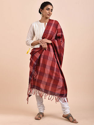 Red Handwoven Cotton Dupatta