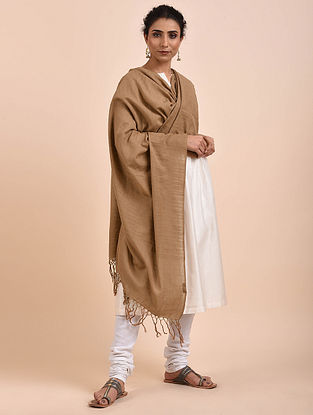 Brown Handwoven Cotton Dupatta