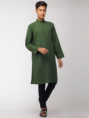 Green Cotton Full Sleeve Long Kurta with Mandarin Collar