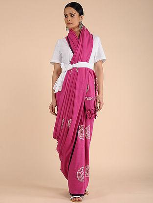 Pink-Ivory Chikankari Cotton saree with Mukaish Work